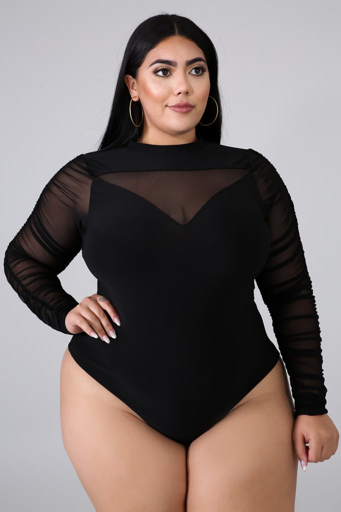 Sheer Ruched Bodysuit