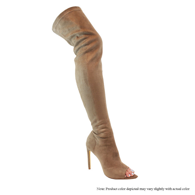 Laurent Peep Toe Thigh High Boot