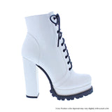 Monclair Lace Up Bootie- White Patent