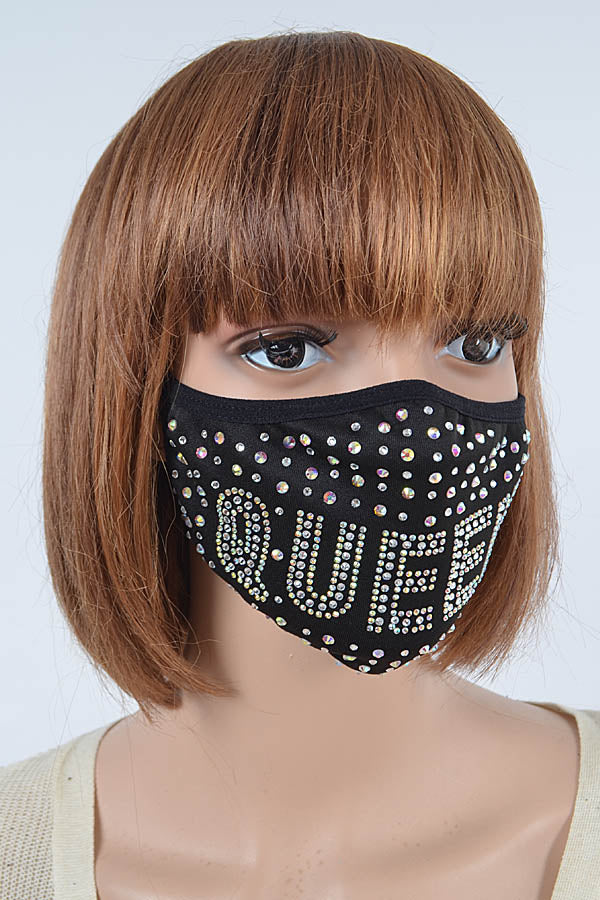 Queen Rhinestone Face Mask
