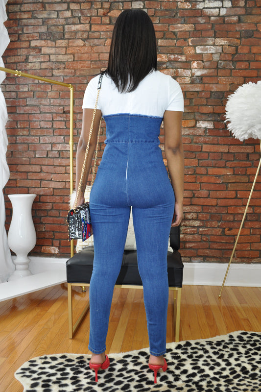 Denim Bustier Cutout Jumpsuit