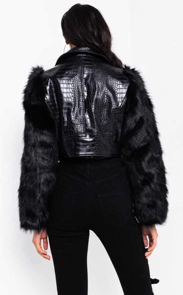 Faux Fur Sleeve Croc Moto Jacket- Black