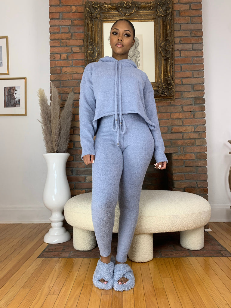 Soft Hoodie Lounge Set- Blue