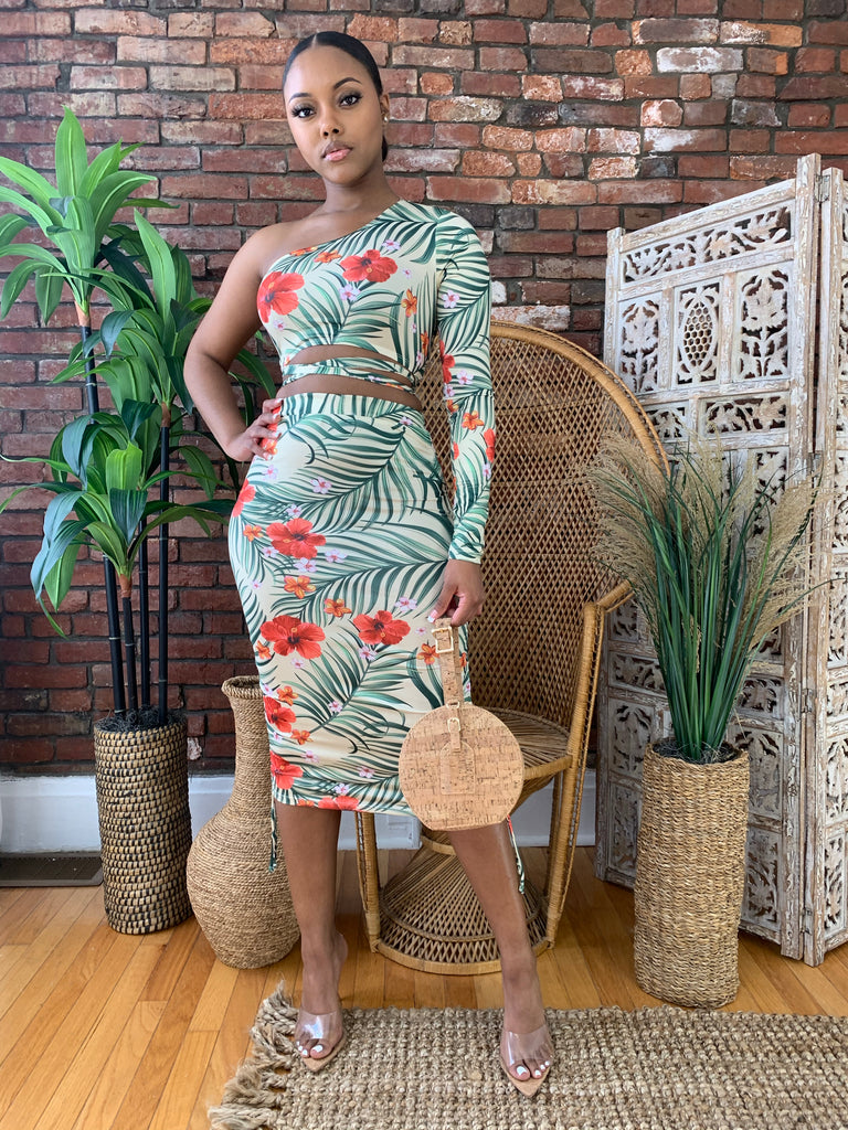 Tropical Print Skirt Set