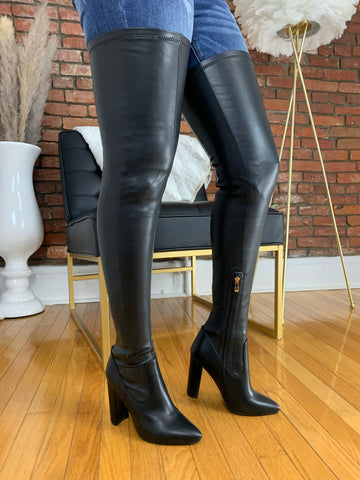 Gisele Thigh High Boot- Rose Faux Leather