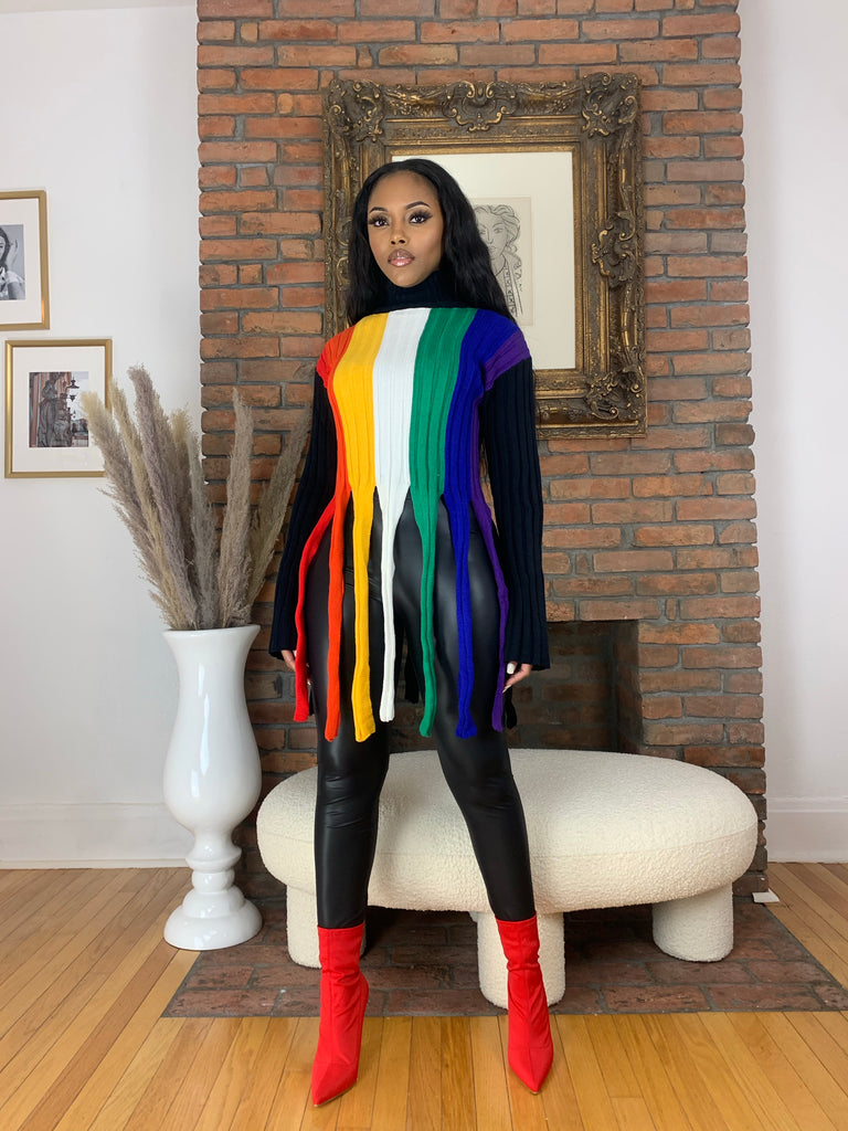 Rainbow Fringe Sweater