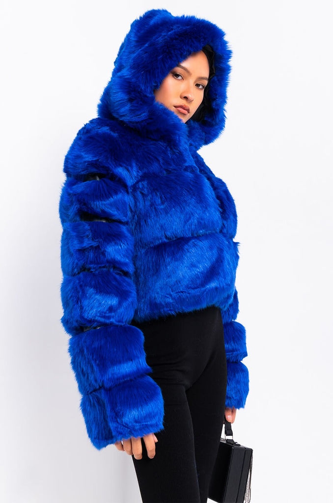Luxe Fur Hooded Jacket- Royal Blue
