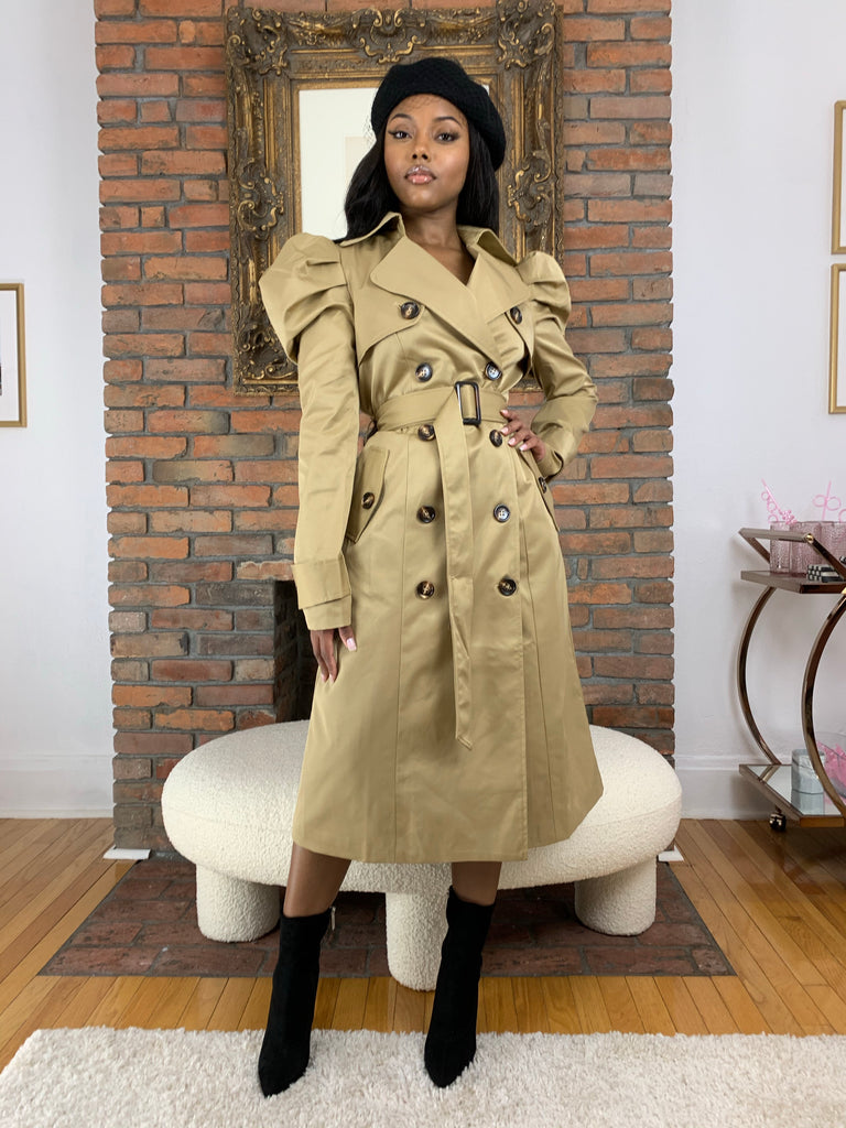 Puff Sleeve Trench Coat