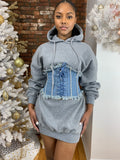 Belted Hoodie Dress- Grey
