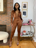 Satin Bodysuit Set- Bronze