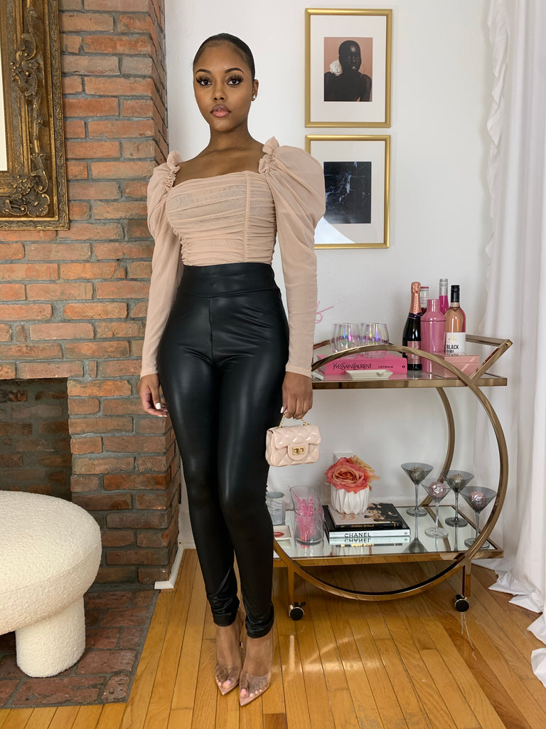 Sheer Puff Sleeve Bodysuit- Nude