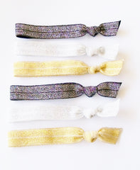 Hair Ties, Shimmer 6 Pack, Gold, Black, Silver