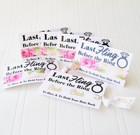 Bachelorette Party Favor, Hair Tie and Card, Last Fling before the Ring