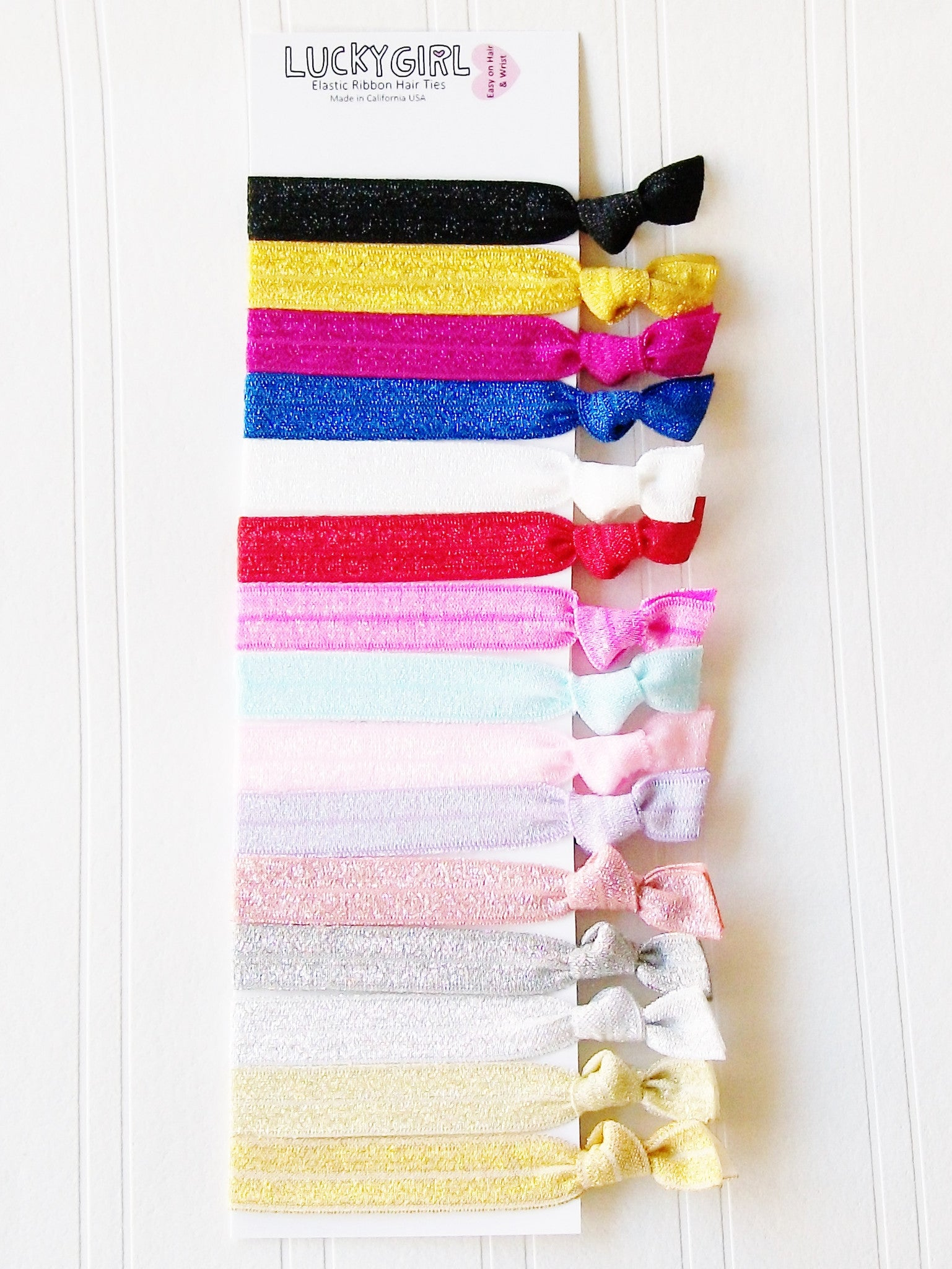 Lucky Girl Hair Ties The Shimmer Collection Complete Set