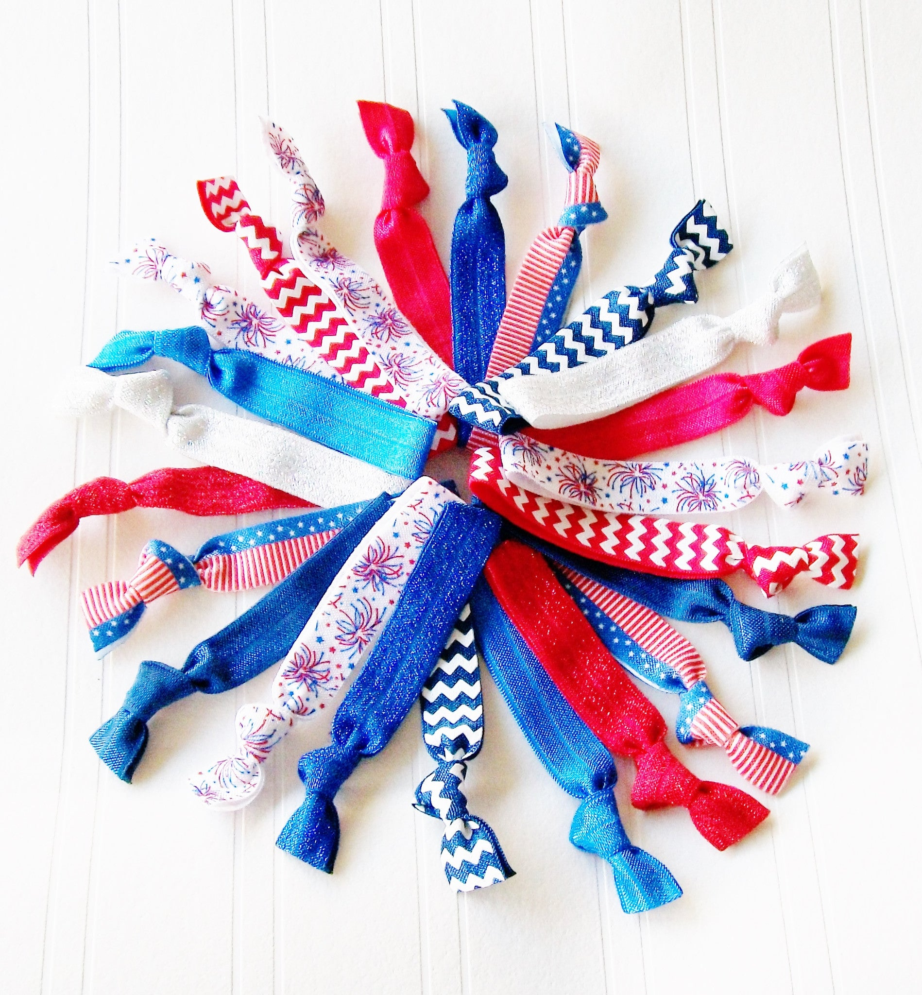 Lucky Girl Hair Ties the Summer Patriotic Collection Grab Bag Style