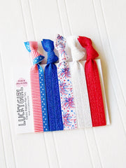 Lucky Girl Hair Ties Patriotic 5 pack Summer 2016