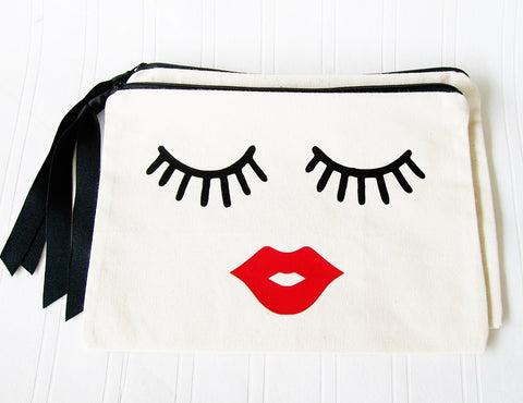 Make Up Bag, Kissy Face Lipstick Eyelash Cosmetic bag clutch Purse