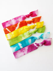 Tie Dye Hair Ties, The Real OC Rainbow, Set of 6