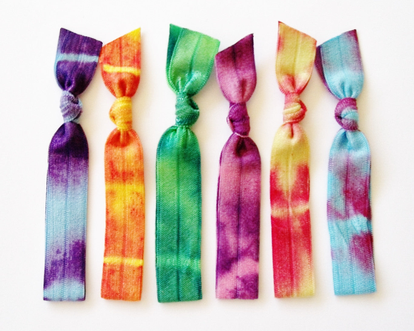 Tie Dye Hair Ties, Day Tripper, Set of 6