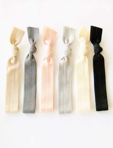 Solid Hair Ties, Peach Silk, Set of 6