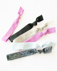 Glitterband (tm) Hair Ties, Radiant Orchid Set of 6