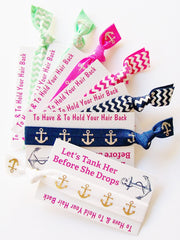 Nautical Bachelorette Party Favor, Hair Tie and Card