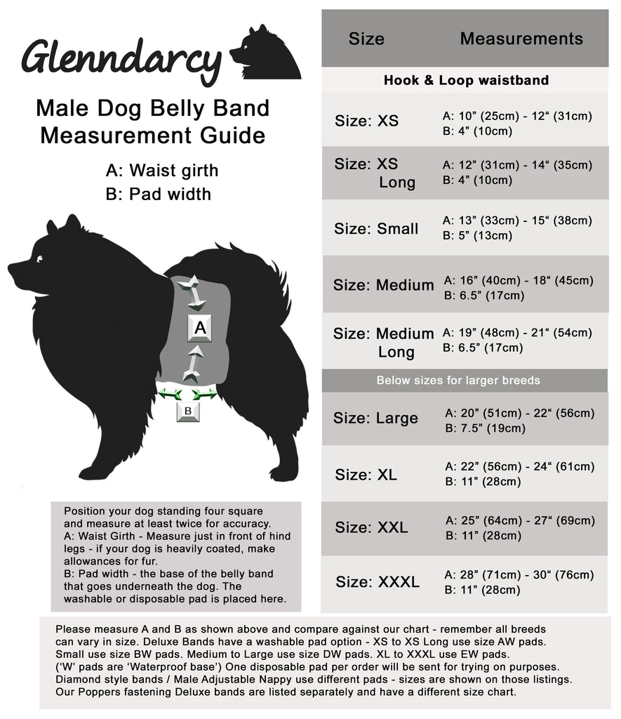 Dog Belly Band Size Chart