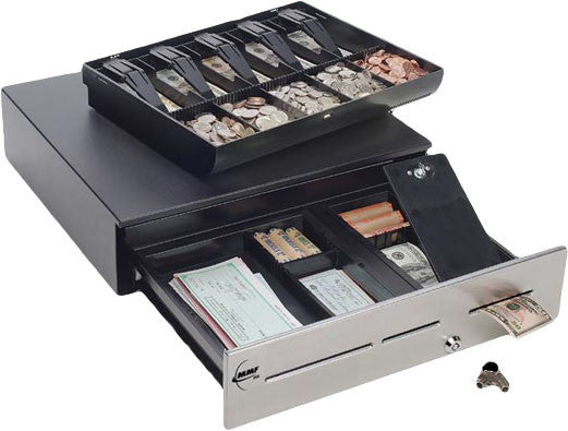 "MMF ADV-INABOXUS-04 Advantage Cash Drawer,12/24V,SS Front,With Slot,18""(W)x16.7""(D),InclCable,Black"