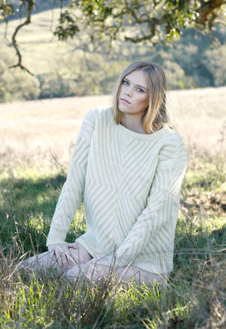 Caitlin Chevron Rib Boatneck Sweater in Natural