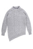 Bolinas Cable Knit Sweater Front View in Heather Grey