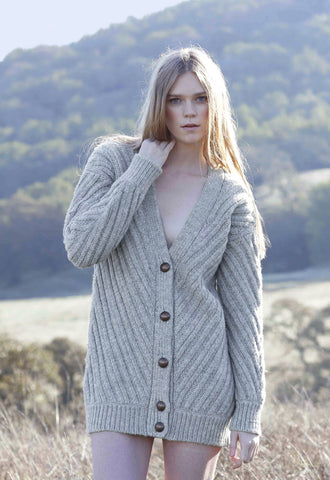 Fort Point Ribbed Sweater Cardigan in Heather Grey