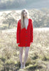 Fort Point Ribbed Sweater Cardigan in Poppy Red