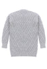 Fort Point Ribbed Sweater Cardigan Back View in Heather Grey