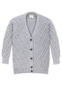 Fort Point Ribbed Sweater Cardigan Front View in Heather Grey