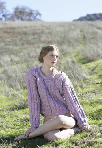 Charlie Croppy Cable Sweater in Lilac