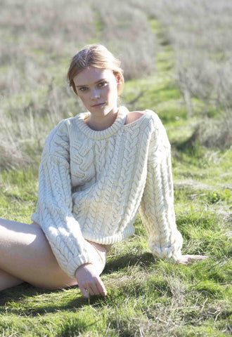 Charlie Croppy Cable Sweater in Natural