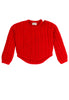 Charlie Croppy Cable Sweater Front View in Poppy Red
