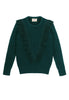 Ashbury Fringe Sweater Front View in Forest Green
