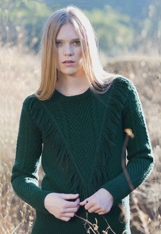 Ashbury Fringe Sweater in Forest Green