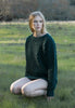 Caitlin Chevron Rib Boatneck Sweater in Forest Green