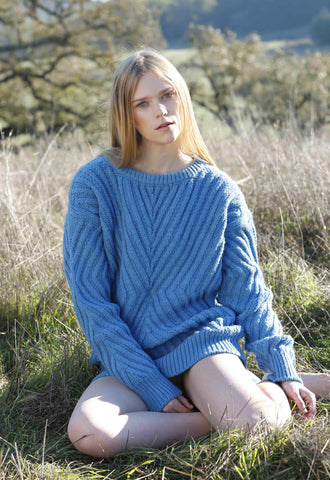Caitlin Chevron Rib Boatneck Sweater in Sky Blue