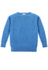 Caitlin Chevron Rib Boatneck Sweater Front View in Sky Blue