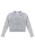Mt. Tam Croppy Cable Crewneck Sweater Front View in Heather Grey
