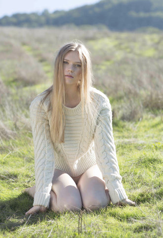 Mt. Tam Croppy Cable Crewneck Sweater in Natural