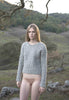 Mt. Tam Croppy Cable Crewneck Sweater in Heather Grey