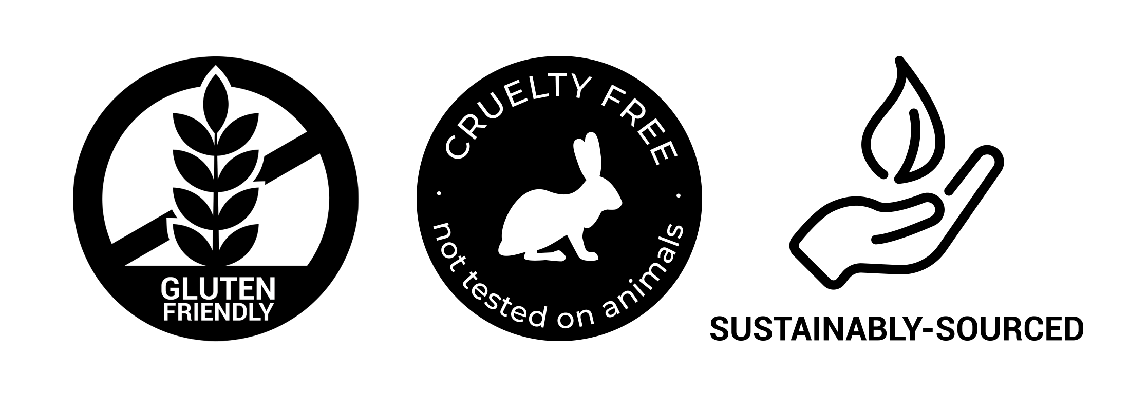 gluten free, cruelty free, sustainably sourced