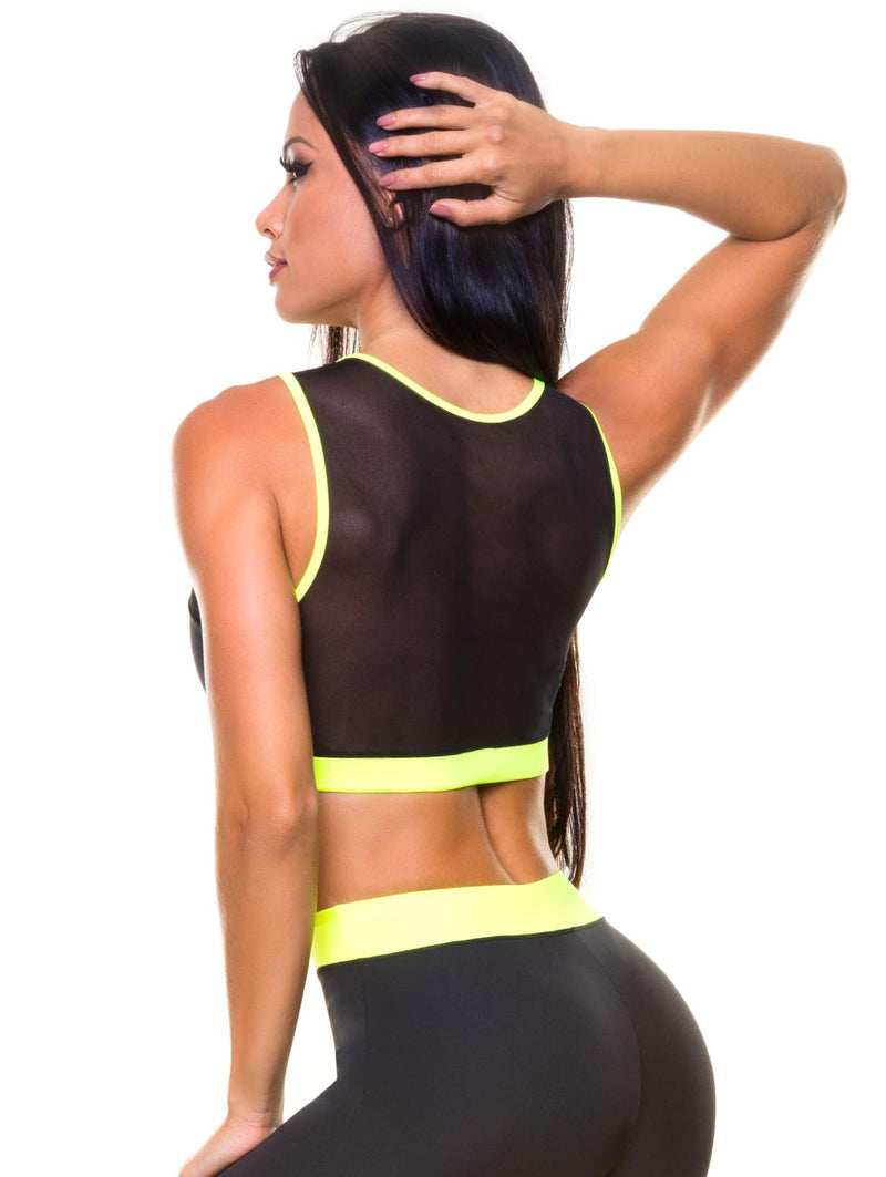 Brazilian Black Mesh Sports Bra - Bad Girl Fitness