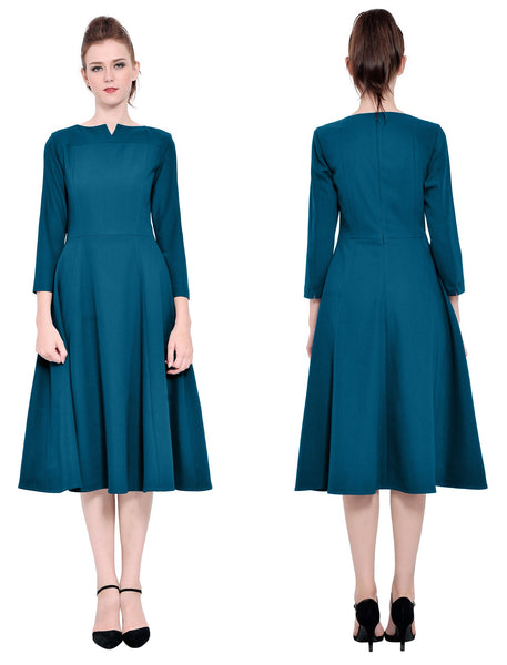 Everyday Giveaway: Marycrafts Womens Elegant Casual Office Business Long Tea Midi Dress 10 Dark Cyan