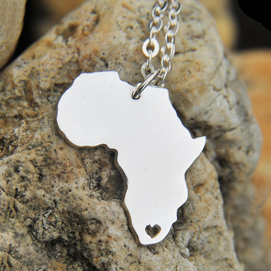 Sterling silver Africa map love heart Necklace, Customized ...