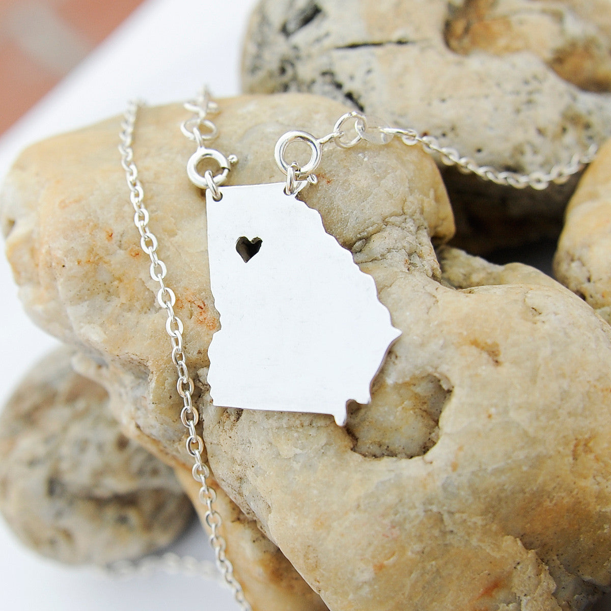 Georgia map state love heart Necklace, Customized Necklace